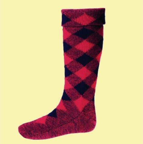 Image 0 of Tartan Red Navy Diced Wool Full Length Mens Kilt Hose Highland Socks