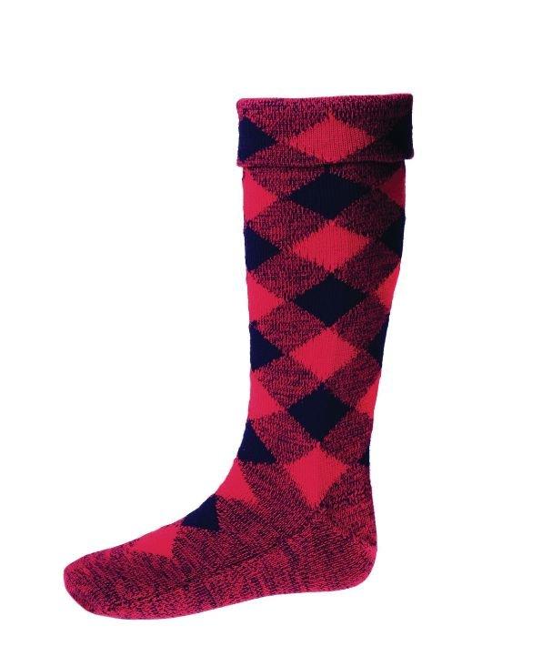 Image 1 of Tartan Red Navy Diced Wool Full Length Mens Kilt Hose Highland Socks