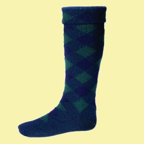 Image 0 of Navy Tartan Green Diced Wool Full Length Mens Kilt Hose Highland Socks