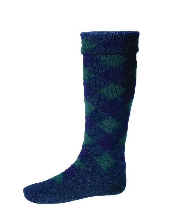 Image 1 of Navy Tartan Green Diced Wool Full Length Mens Kilt Hose Highland Socks