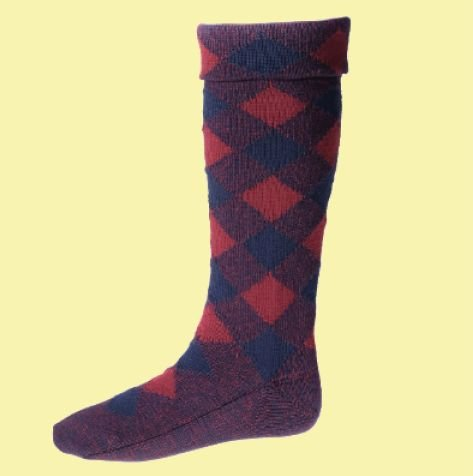 Image 0 of Navy And Burgundy Diced Wool Full Length Mens Kilt Hose Highland Socks