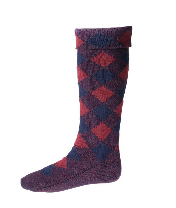 Image 1 of Navy And Burgundy Diced Wool Full Length Mens Kilt Hose Highland Socks