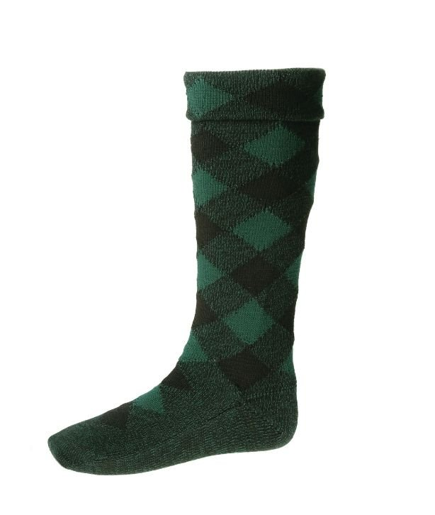 Image 1 of Blackwatch Diced Wool Full Length Mens Kilt Hose Highland Socks