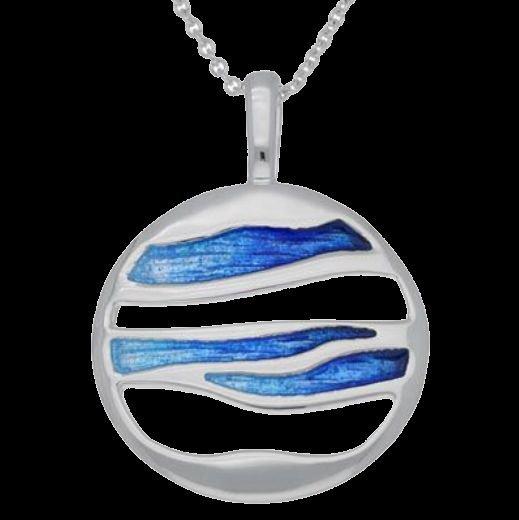 Image 0 of Oasis Enamel Orbit Round Sterling Silver Pendant