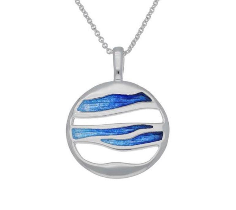 Image 1 of Oasis Enamel Orbit Round Sterling Silver Pendant