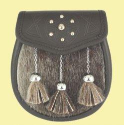 Sporting Celtic Targe Chain Ball Tassels Semi-Formal Leather Mens Sporran