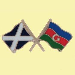 Saltire Azerbaijan Crossed Country Flags Friendship Enamel Lapel Pin Set x 3