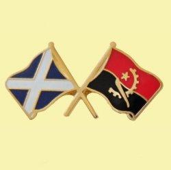 Saltire Angola Crossed Country Flags Friendship Enamel Lapel Pin Set x 3