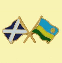 Saltire Rwanda Crossed Country Flags Friendship Enamel Lapel Pin Set x 3