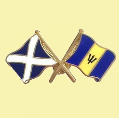 Image 0 of Saltire Barbados Crossed Country Flags Friendship Enamel Lapel Pin Set x 3
