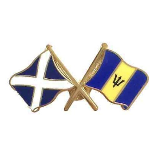 Image 1 of Saltire Barbados Crossed Country Flags Friendship Enamel Lapel Pin Set x 3