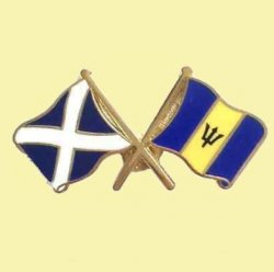 Saltire Barbados Crossed Country Flags Friendship Enamel Lapel Pin Set x 3