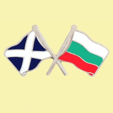 Image 0 of Saltire Bulgaria Crossed Country Flags Friendship Enamel Lapel Pin Set x 3