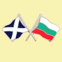 Saltire Bulgaria Crossed Country Flags Friendship Enamel Lapel Pin Set x 3