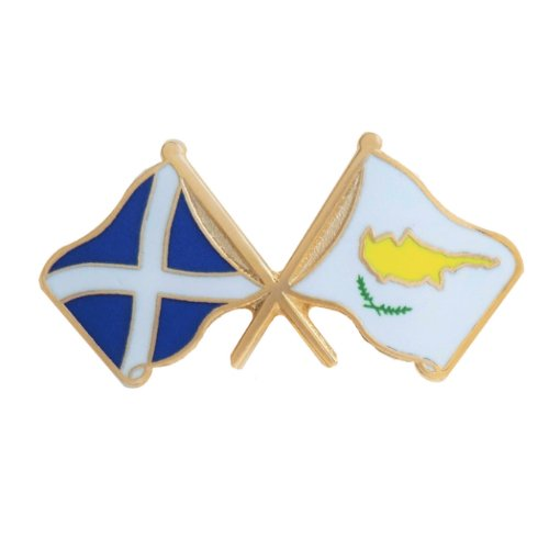Image 1 of Saltire Cyprus Crossed Country Flags Friendship Enamel Lapel Pin Set x 3
