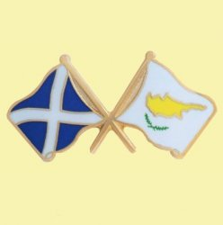Saltire Cyprus Crossed Country Flags Friendship Enamel Lapel Pin Set x 3