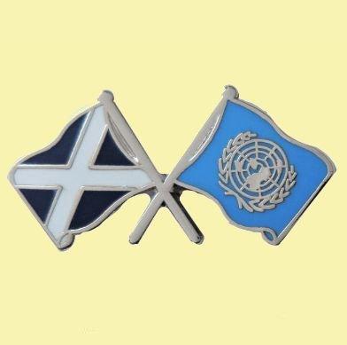 Image 0 of Saltire United Nations Crossed Flags Friendship Enamel Lapel Pin Set x 3