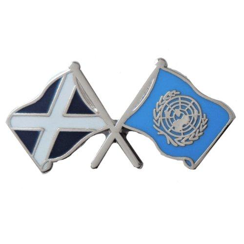 Image 1 of Saltire United Nations Crossed Flags Friendship Enamel Lapel Pin Set x 3