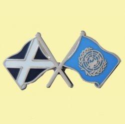 Saltire United Nations Crossed Flags Friendship Enamel Lapel Pin Set x 3