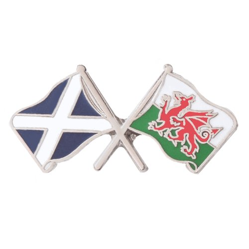 Image 1 of Saltire Wales Crossed Country Flags Friendship Enamel Lapel Pin Set x 3