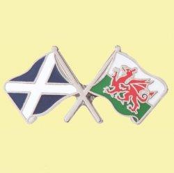Saltire Wales Crossed Country Flags Friendship Enamel Lapel Pin Set x 3