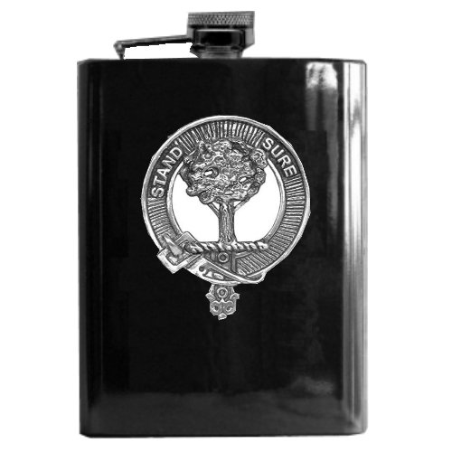Image 1 of Anderson Clan Badge Black Stainless Steel Silver Clan Crest 8oz Hip Flask
