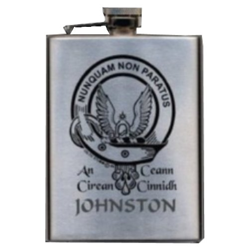 Image 1 of Clan Badge Lasered Stainless Steel Clan Crest 8oz Hip Flask