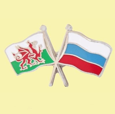 Image 0 of Wales Russia Crossed Country Flags Friendship Enamel Lapel Pin Set x 3