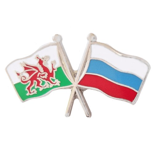 Image 1 of Wales Russia Crossed Country Flags Friendship Enamel Lapel Pin Set x 3