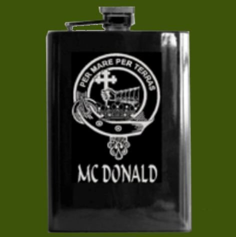 Image 0 of Clan Badge Lasered Black Stainless Steel Clan Crest 8oz Hip Flask