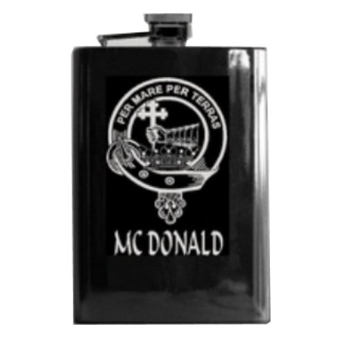 Image 1 of Clan Badge Lasered Black Stainless Steel Clan Crest 8oz Hip Flask