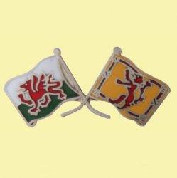 Wales Lion Rampant Crossed Flags Friendship Enamel Lapel Pin Set x 3