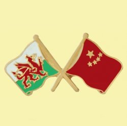 Wales China Crossed Country Flags Friendship Enamel Lapel Pin Set x 3