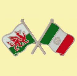 Wales Mexico Crossed Country Flags Friendship Enamel Lapel Pin Set x 3