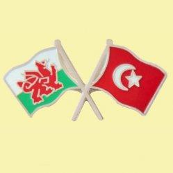 Wales Turkey Crossed Country Flags Friendship Enamel Lapel Pin Set x 3