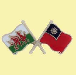 Wales Taiwan Crossed Country Flags Friendship Enamel Lapel Pin Set x 3