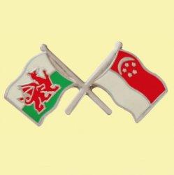 Wales Singapore Crossed Country Flags Friendship Enamel Lapel Pin Set x 3