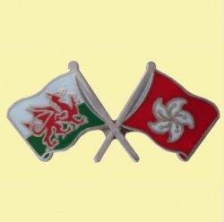 Wales Hong Kong Crossed Country Flags Friendship Enamel Lapel Pin Set x 3
