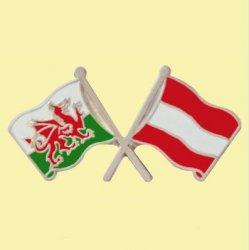 Wales Austria Crossed Country Flags Friendship Enamel Lapel Pin Set x 3