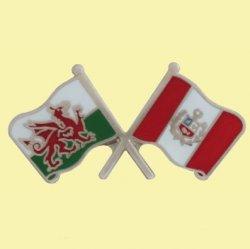Wales Peru Crossed Country Flags Friendship Enamel Lapel Pin Set x 3