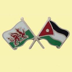 Wales Jordan Crossed Country Flags Friendship Enamel Lapel Pin Set x 3