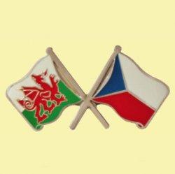 Wales Czech Republic Crossed Country Flags Friendship Enamel Lapel Pin Set x 3