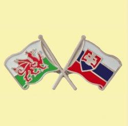 Wales Slovakia Crossed Country Flags Friendship Enamel Lapel Pin Set x 3