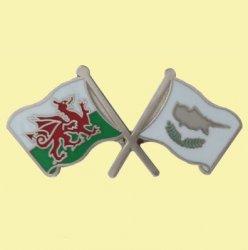 Wales Cyprus Crossed Country Flags Friendship Enamel Lapel Pin Set x 3