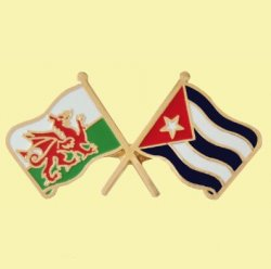 Wales Cuba Crossed Country Flags Friendship Enamel Lapel Pin Set x 3