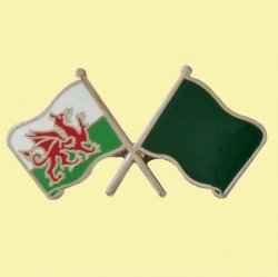 Wales Libya Crossed Country Flags Friendship Enamel Lapel Pin Set x 3