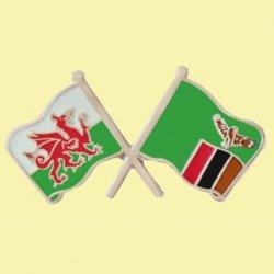 Wales Zambia Crossed Country Flags Friendship Enamel Lapel Pin Set x 3