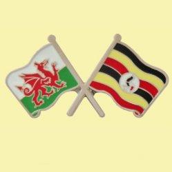 Wales Uganda Crossed Country Flags Friendship Enamel Lapel Pin Set x 3