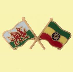 Wales Ethiopia Crossed Country Flags Friendship Enamel Lapel Pin Set x 3
