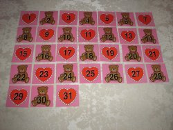 36 Laminated Two Sided Bear and Heart Calendar Pocket Chart Patterning Pieces